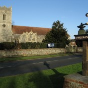 Taken January 2008 of St Peters Church Palgrave and the village sign.